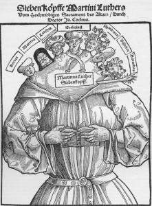 Martim Lutero representado como um monstro de sete cabeças.