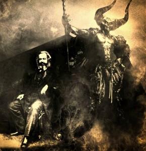 Karl Marx na sombra de Lucifer, numa verdadeira obra de arte da difamação.